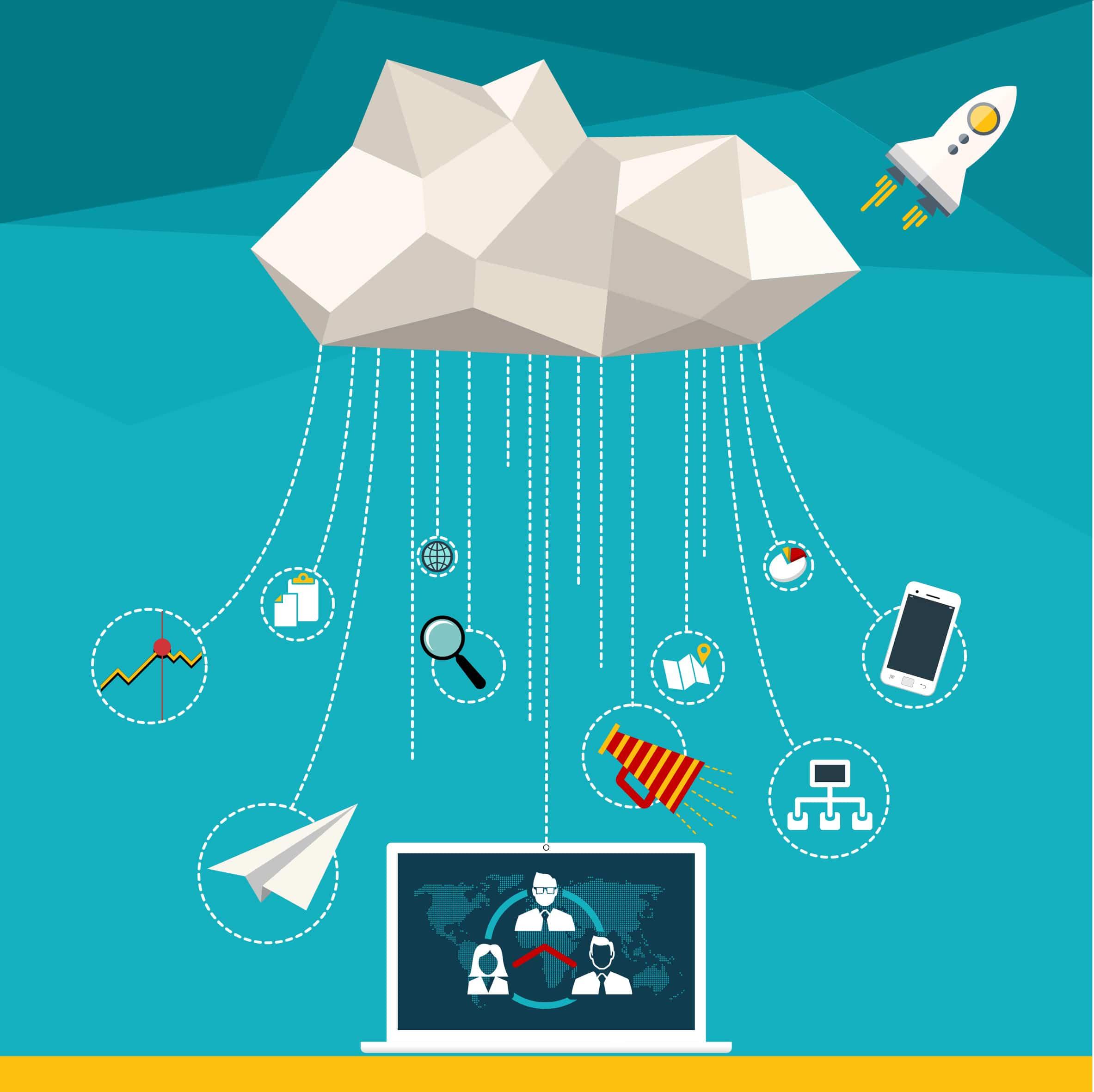 cloud computing ilustracion a cloud hosting