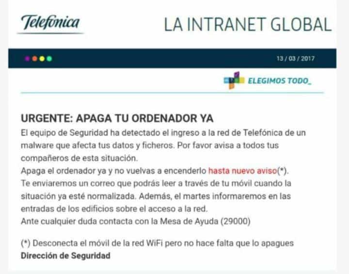 intranet global de telefonica urgente