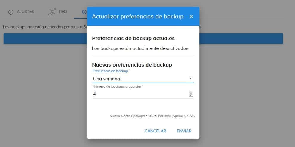 configuracion backups